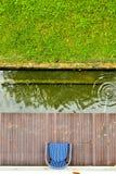 Opinión superior de la charca del jardín de la silla fotos de archivo libres de regalías