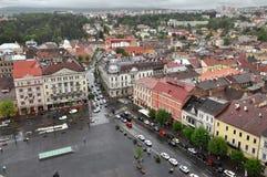 Opinión superior de la ciudad de Cluj Napoca rumania Imagen de archivo libre de regalías