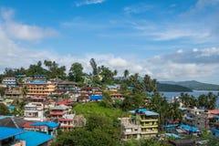 Opinión superior de la ciudad de Port Blair, una pequeña ciudad de la isla en Asia sudoriental Fotos de archivo libres de regalías