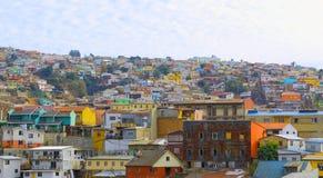Opinión superior de la colina del horizonte del chile de valparaiso imagen de archivo