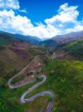 Opinión superior de la foto del camino aéreo de la carretera imagen de archivo