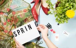 Opinión superior de la moda de la primavera Imágenes de archivo libres de regalías
