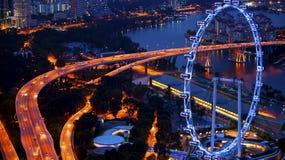 Opinión superior de la noche del área de Marina Bay en Singapur Viajes Fotos de archivo libres de regalías