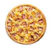 Opinión superior de la pizza hawaiana Imágenes de archivo libres de regalías