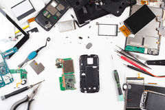 Opinión superior de la reparación del teléfono imagen de archivo