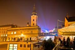 Opinión superior de la tarde del advenimiento de la iglesia de la ciudad de Zagreb Imágenes de archivo libres de regalías