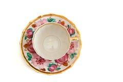 Opinión superior de la taza y del platillo de té Fotos de archivo