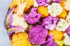 Opinión superior de las coliflores frescas Imagen de archivo libre de regalías