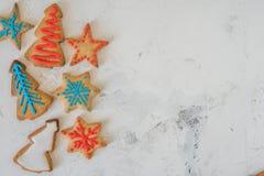 Opinión superior de las galletas de la Navidad con el espacio para el texto Fotos de archivo libres de regalías