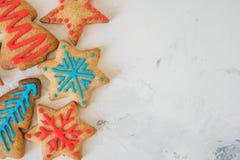 Opinión superior de las galletas de la Navidad con el espacio para el texto Imagen de archivo