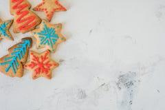 Opinión superior de las galletas de la Navidad con el espacio para el texto Imágenes de archivo libres de regalías