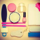 Opinión superior de las herramientas de los accesorios de la pedicura Fotografía de archivo