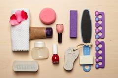 Opinión superior de las herramientas de los accesorios de la pedicura Foto de archivo