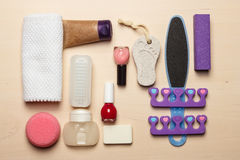 Opinión superior de las herramientas de los accesorios de la pedicura Foto de archivo libre de regalías