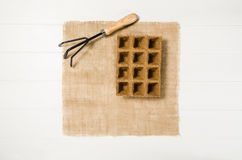 Opinión superior de las herramientas que cultivan un huerto sobre el fondo de madera blanco de los tablones Fotos de archivo libres de regalías
