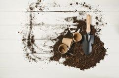Opinión superior de las herramientas que cultivan un huerto sobre el fondo de madera blanco de los tablones Foto de archivo libre de regalías