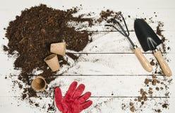 Opinión superior de las herramientas que cultivan un huerto sobre el fondo de madera blanco de los tablones Imágenes de archivo libres de regalías