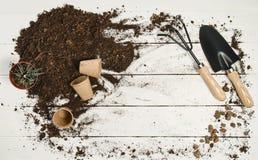 Opinión superior de las herramientas que cultivan un huerto sobre el fondo de madera blanco de los tablones Fotos de archivo