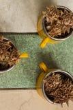 Opinión superior de las tazas y de las flores secas Foto de archivo