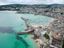 Opinión superior de St Ives del puerto fotos de archivo libres de regalías