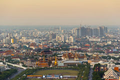 Opinión superior de Wat Phra Kaew del palacio magnífico del templo de Bangkok Tailandia en el viaje popular del turismo del color Imagenes de archivo