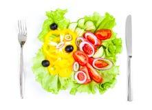 Opinión superior del alimento de la ensalada sana de las verduras frescas Fotos de archivo