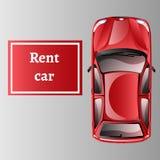 Opinión superior del alquiler del coche aislada libre illustration
