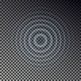 Opinión superior del efecto dominó Anillos transparentes del descenso del agua Onda acústica del círculo aislada en backgr a cuad stock de ilustración