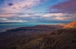 Opinión superior del EL Calafate Nube soñadora mágica del paisaje de la naturaleza de la puesta del sol de la tarde en el cielo e Foto de archivo libre de regalías