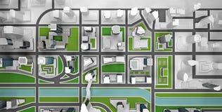 Opinión superior del esquema de la vecindad representación 3d Imagen de archivo libre de regalías