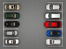 Opinión superior del estacionamiento completo Fotografía de archivo libre de regalías