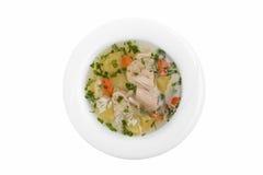 Opinión superior del fondo blanco georgiano tradicional del plato de la sopa de pollo fotos de archivo