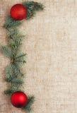 Opinión superior del fondo rústico de la decoración del Año Nuevo de la Navidad Imagen de archivo
