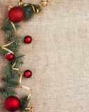 Opinión superior del fondo rústico de la decoración del Año Nuevo de la Navidad Fotos de archivo