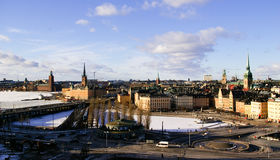 Opinión superior del invierno del Gamla Stan en Estocolmo, interruptor Fotos de archivo libres de regalías