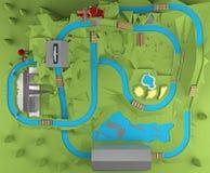 Opinión superior del parque de atracciones representación 3d Imagenes de archivo