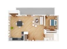 Opinión superior del plan de piso del apartamento Fotos de archivo