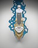 Opinión superior del rompehielos del frente representación 3d Imagen de archivo libre de regalías