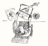 Opinión superior dibujada hombre-ordenador del trabajo de oficina del bosquejo stock de ilustración