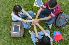 Opinión superior el grupo de estudiantes que se sientan junto en el jardín Foto de archivo