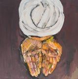 Opinión superior el hombre árabe que ofrece con sus manos Foto de archivo libre de regalías