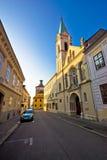 Opinión superior histórica de la calle de la ciudad de Zagreb foto de archivo libre de regalías