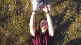 Opinión superior la chica joven con el pelo rubio que miente en hierba en el campo y que frota ligeramente su perro fornido Gasto almacen de video