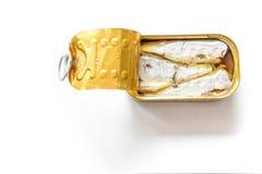 Opinión superior pescados abiertos conservados imagenes de archivo