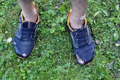 Opinión superior piernas y turistas de las zapatillas de deporte después de una pista de senderismo larga Imágenes de archivo libres de regalías