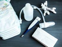 Opinión superior recién nacida de la higiene de los accesorios Imagenes de archivo