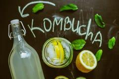 Opinión superior sobre Kombucha hecho en casa con las frutas Foto de archivo