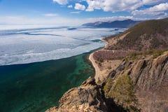 Opinión superior sobre la costa del lago Baikal Foto de archivo libre de regalías