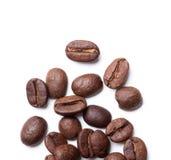 Opinión superior sobre los granos de café asados Foto de archivo libre de regalías