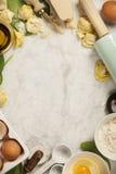 Opinión superior sobre los raviolis hechos en casa de las pastas Imagen de archivo